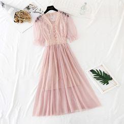 NINETTE - Lace Panel Mesh Overlay Midi Dress