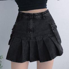 Honet - Pleated Denim Mini A-Line Skirt