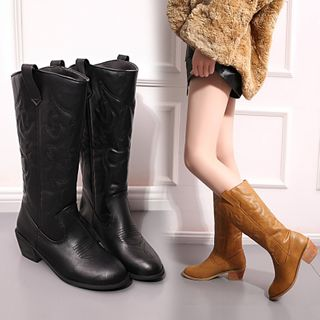 Yoflap - Faux Leather Shirred Chunky Heel Short Boots