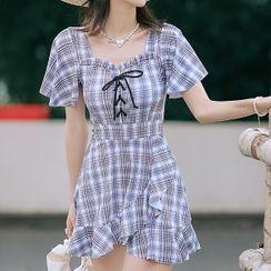 Camelbo - Short-Sleeve Plaid Swim Dress