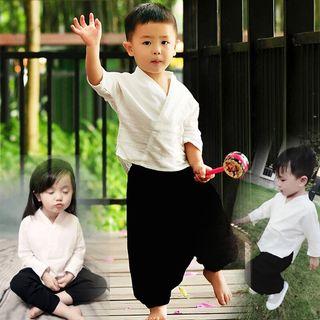 SEE SAW - Kids Set: Plain Elbow-Sleeve Top + Harem Pants