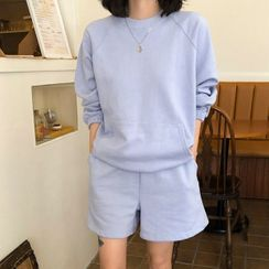 icecream12 - Set: Drawcord-Hem Boxy Sweatshirt + Sweatshorts