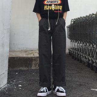 Porstina - Plain Wide-Leg Pants
