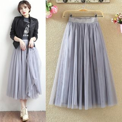 MEMESIS - Midi A-Line Mesh Skirt