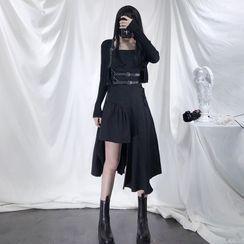 Fantoma - Asymmetrical Hem Spaghetti Strap Midi A-Line Dress / Body Harness Belt