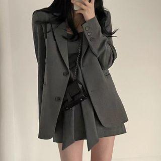 Avox - Plain Blazer / Strappy A-Line Dress