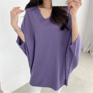 PIPPIN - V-Neck Dolman-Sleeve Knit Top