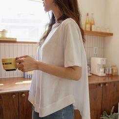 JUSTONE - Asymmetric A-Line Cotton T-Shirt