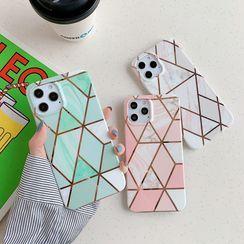 Vachie(ヴァチー) - Marble Print Panel Phone Case - iPhone 12 Pro Max / 12 Pro / 12 / 11 Pro Max / 11 Pro / 11 / SE / XS Max / XS / XR / X / SE 2 / 8 / 8 Plus / 7 / 7 Plus / Samsung