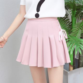 Sienne - Lace-Up Pleated Mini Skirt