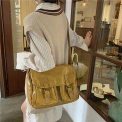 Indenis - Faux Leather Crossbody Satchel Bag