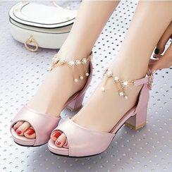Freesia - 飾水鑽露趾粗跟涼鞋