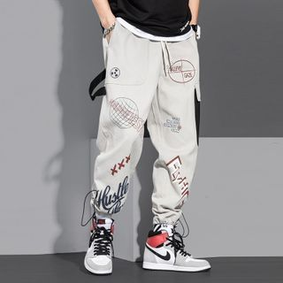 Wescosso - Lettering Print Cargo Pants
