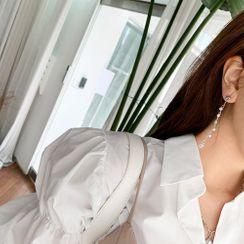 PPGIRL - Faux-Pearl Trim Drop Earrings
