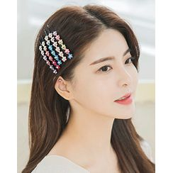 Miss21 Korea(ミス21コリア) - Rhinestone Flower Hair Pin Set (2 PCS)