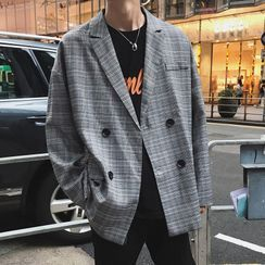 DuckleBeam - Double Breasted Plaid Blazer