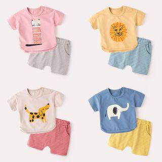 DuduBaby - 嬰兒套裝: 短袖印花T裇 + 條紋短褲