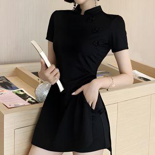 Glacia - 套裝: 短袖側開衩迷你旗袍 + 短褲