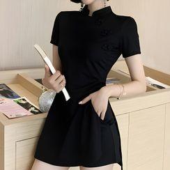Glacia - Set: Short-Sleeve Side-Slit Mini Qipao + Shorts