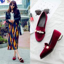 Comof - Floral Low Heel Velvet Loafers
