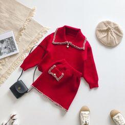 Cuckoo - Set: Kids Collared Sweater + A-Line Mini Knit Skirt