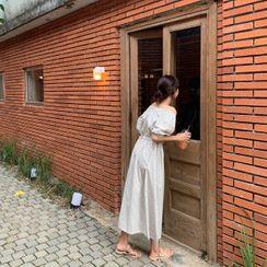 CHERRYKOKO - Off-Shoulder Stripe Long Dress