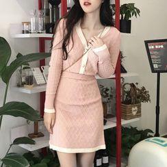 Natta - Set: Contrast Trim Knit Top + A-line Skirt