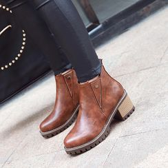 Megan - Faux Leather Chunky Heel Ankle Boots