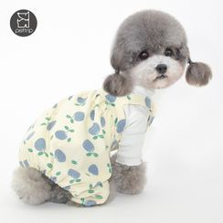 Pettrip - Fruit Print Mock Two-Piece Pet Overall