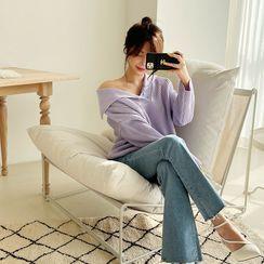 NANING9 - Collared Rib-Knit Sweater