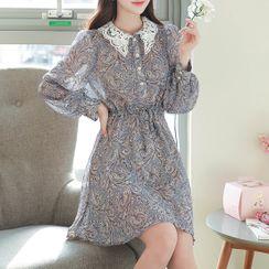 MyFiona - Lace-Collar Puff-Sleeve Paisley Dress