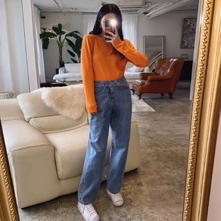 LIPHOP - Washed Wide-Leg Jeans With Belt