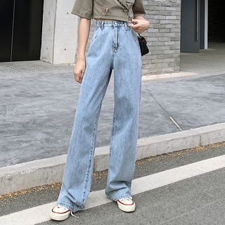 Denimot(デニモット) - High-Waist Straight-Fit Jeans