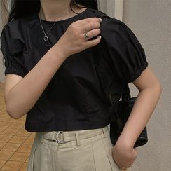 Aisicle - 泡泡袖短款襯衫