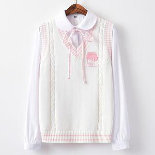 Candy House - Embroidered V-Neck Knit Vest