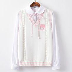 Candy House - 刺绣V领针织马甲