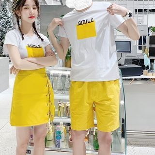 Bienvenu - Couple Matching Smile T-shirt/ Shorts / Skirt