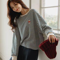 JUSTONE - Rabbit-Embroidered Stripe Sweatshirt