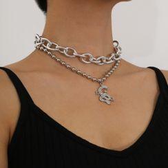 Seirios - Rhinestone Dragon Pendant Layered Choker Necklace