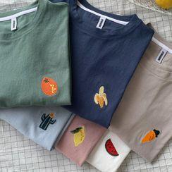 JUN.LEE - Short-Sleeve Embroidered Motif T-Shirt (Various Designs)