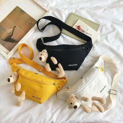Calomes - Bear Applique Canvas Sling Bag