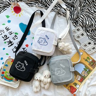 OUCHA(ウーチャ) - Cartoon Bear Print Crossbody Bag