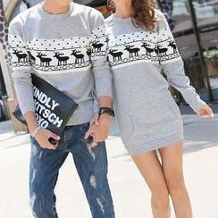 Be Bonita - Nordic Print Couple Knit Sweater / Sweater Dress