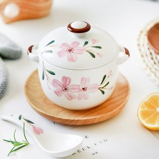 Beaucup - Floral Print Ceramic Stew Pot /  Lid / Spoon / Set