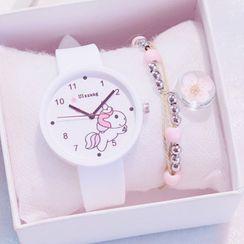 Moska - Set: Kids Unicorn Print Strap Watch + Bracelet