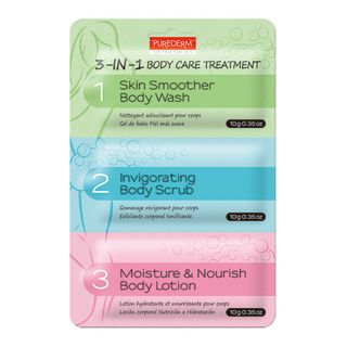 PUREDERM - 3-in-1 Body Care Treatment: Skin Smoother Body Wash 10g + Invigorating Body Scrub 10g + Moisture & Nourish Body Lotion 10g