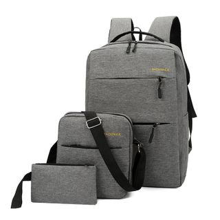 Golden Kelly - Set: Computer Backpack + Crossbody Bag + Pouch