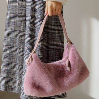 JUSTONE - Faux-Fur Tote Bag with Shoulder Strap