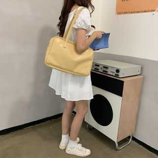 Masen - Plain Faux Leather Zip Handbag