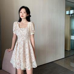 GANGER - Square Collar Lace Dress